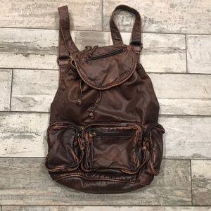 Vintage brown soft leather backpack